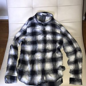 Chelsea&Theodore blk/white plaid medium shirt